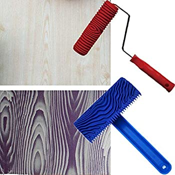 TINTON LIFE 2Pcs Rubber 7  Empaistic Wood Pattern Painting Roller + 3.9  Graining Painting Tool with Handle