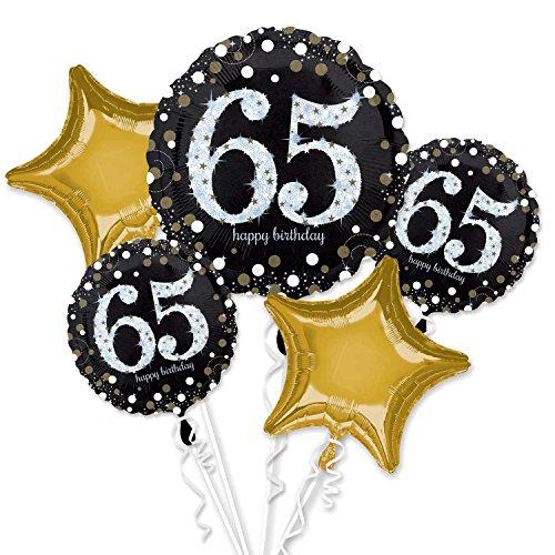 Amscan International 3214801 - Ramo de globos de papel de aluminio con texto en inglés'Sparkling 65th Birthday'