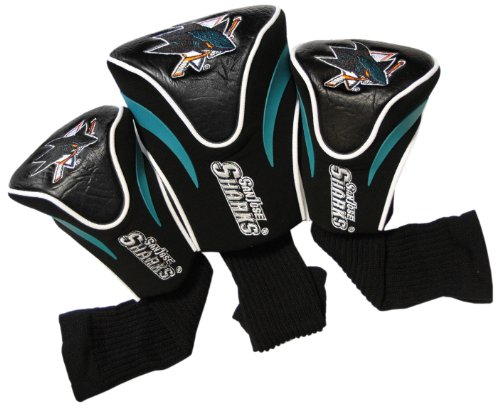 Team Golf NHL San Jose Sharks Contour Golf Club Headcovers (3 Count), Numbered 1, 3, & X, Fits Oversized Drivers, Utility, Rescue & Fairway Clubs, Velour lined for Extra Club Protection