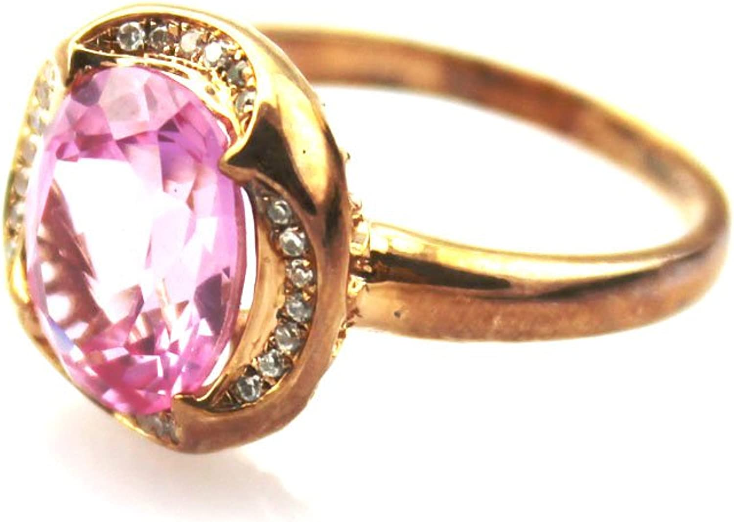 Jade Angel pink gold Plated 925 Silver Jewelry 9x11mm Created Ruby and Clear Cubic Zircon Ring color Red