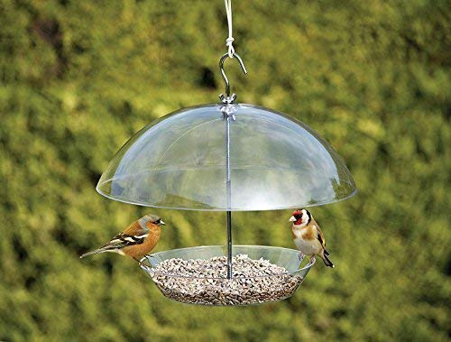 garden mile® Clear Covered Dome Canopy Adjustable Hanging Bird Feeders Garden Bird Feeders Seed Feeder Easy Clean and Fill Removable Tray With Hanging Hook For Small Birds - Keeps Big Birds Out