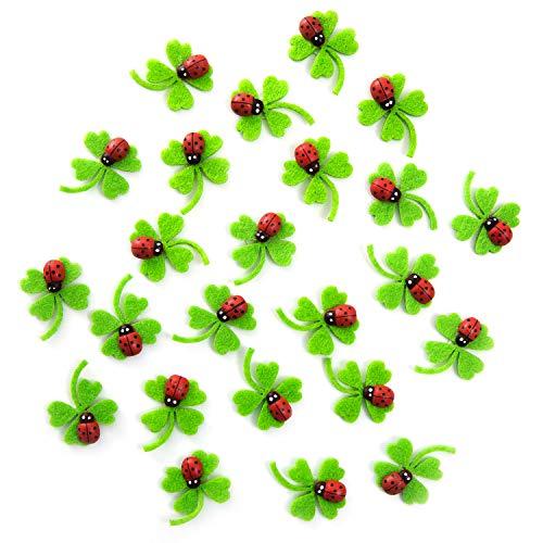Logbuch-Verlag 24 Filz Kleeblätter grün Mini Kleeblatt Marienkäfer 3 cm + Klebepunkt Tischdeko Streudeko Hochzeit Silvester Glücksbringer Neujahr Streuteile