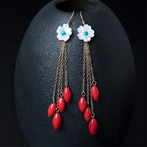 14K Natural Shell Flowers Earrings Fashion Red Coral Tassels Elegant Earrings yangain