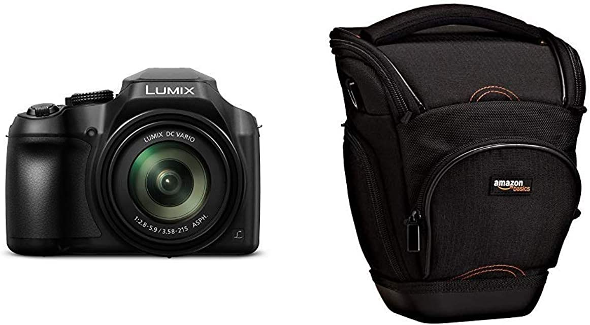 Panasonic Lumix DC-FZ82 - Cámara Bridge de 18.1 MP (Zoom de 60X Objetivo F2.8-5.9 de 20-1200 mm tecnología DFD 4K WiFi) Color Negro & AmazonBasics - Funda para cámara de fotos réflex color negro