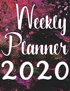 Weekly Planner 2020: Scheduler Calendar January till December 2020 - Colorful Pink Black Abstract Design