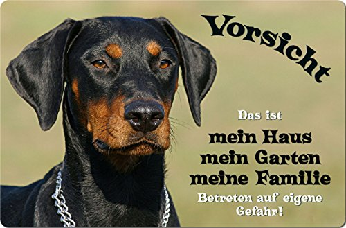 +++ DOBERMANN - METALL WARNSCHILD SCHILD HUNDESCHILD SIGN - DBM 06
