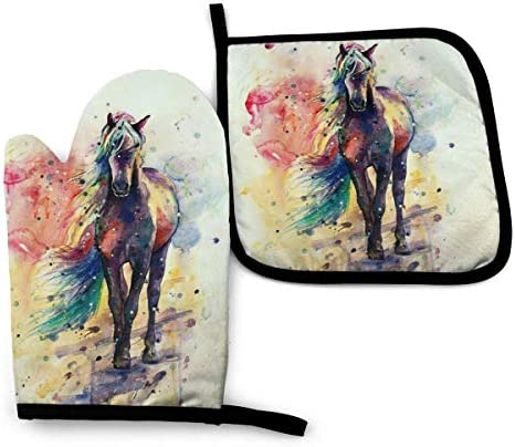ACOGO Watercolor Horse Heat Resistant Hot Oven Mitts Pot Holders for Kitchen Gift Set with Non product image