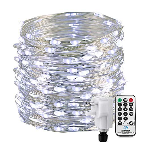 Qedertek Fairy Lights Plug in, 72ft 200 LED Outdoor String Lights, Mains Powered, Waterproof, 8 Modes Copper Wire String Lights for Garden, Party, Yard, Pation, Tree Decorations (White)