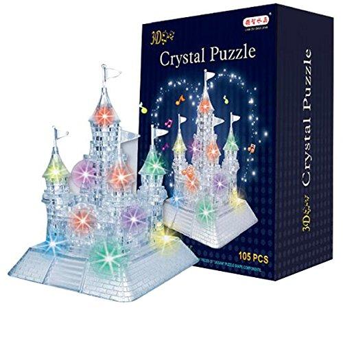 AiSi 105pcs 3D Puzzle Bausteine Schlosses / Burg in der Nacht mit Licht und Musik - 105 Teile