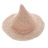 Monique Kids Cute Sharp Pointed Straw Sunhat Beach Sun Hat Sun Cap Halloween Spire Witch Hat