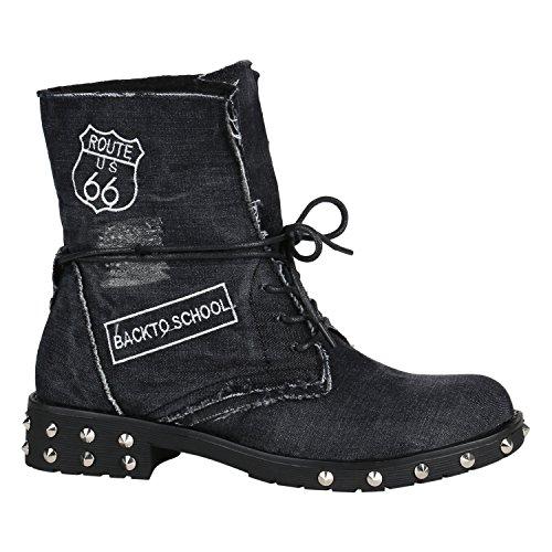 Damen Schuhe Stiefeletten Schnürstiefeletten Leicht Gefütterte Stiefel 144398 Schwarz Denim38 Flandell