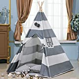 xiaowantong Kids Teepee Tent, Classic Indian Wide Stripe Play Tent with Carry Bag for Boys and Girls Indoor Outdoor (Gray)
