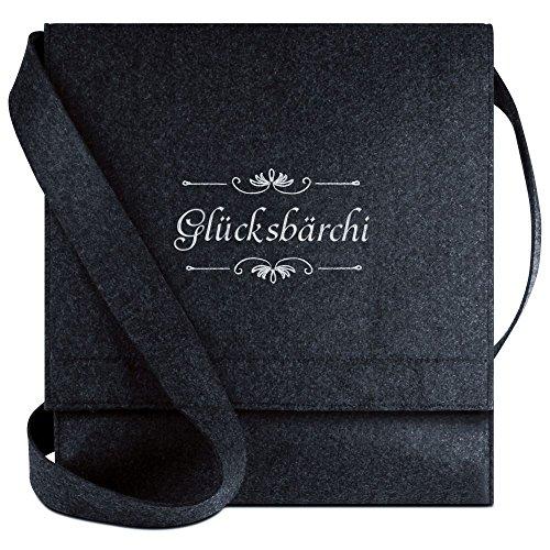 Halfar® Tasche mit Namen Glücksbärchi bestickt - personalisierte Filz-Umhängetasche