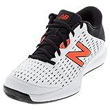 New Balance Men's 696 V4 Hard Court Tennis Shoe, White/Ghost Pepper, 5 M US
