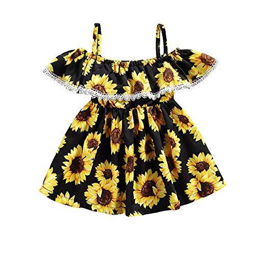 Vestido halter para niña pequeña, bohemio, floral, volantes, girasol, una línea de princesa, falda de verano, Negro, 3-4...