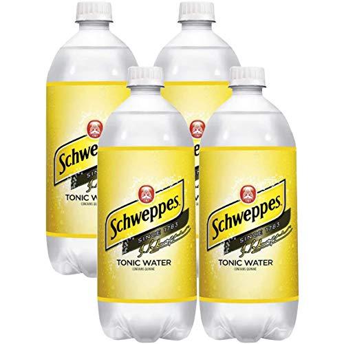 Schweppes Tonic Water, 1 Liter Bottle, 33.8 Fl Oz (Pack of 4, Total of 135.2 Fl Oz)