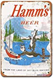 Eletina twinkle Metal Tin Signs Vintage 1956 Hamms Beer Bears Fishing Reproduction Sign 7.8x11.8 Inch Wall Plaque Retro Club Pub Bar Poster