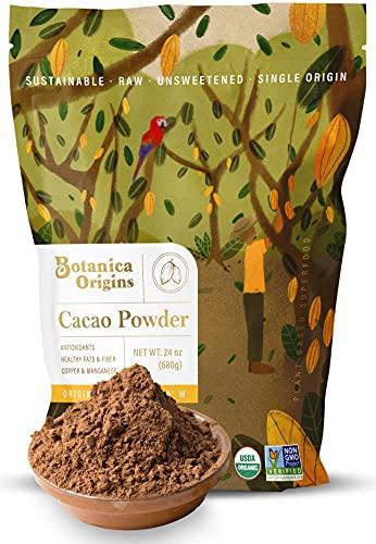Botanica Origins Premium Organic Cacao Powder, 24 oz Value Pack   Low Cadmium   Raw   Unsweetened   Gluten-Free   Vegan, Keto and Paleo Friendly
