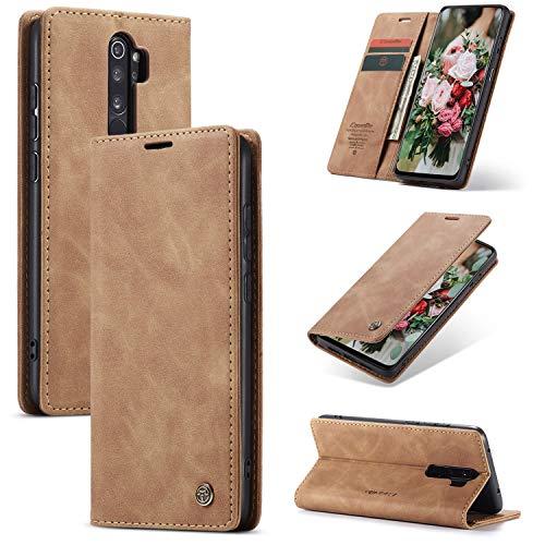 FMPC Handyhülle für Xiaomi Redmi Note 8 Pro Premium Lederhülle PU Flip Magnet Hülle Wallet Klapphülle Silikon Bumper Schutzhülle für Xiaomi Redmi Note 8 Pro Handytasche - Braun