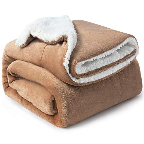 Bedsure Sherpa Fleece Blanket Throw Size Taupe Plush Throw Blanket Fuzzy Soft Blanket Microfiber