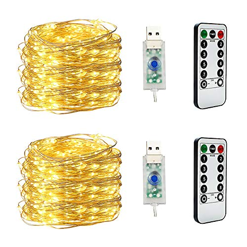 2 Pack Guirnaldas Luces LED, Luces LED Pilas 10M 100 LED Luces de Cadena Decoracion con Control Remoto, Luces LED Pilas IP67 paraNavidadFiestaJardínBodaDecoración