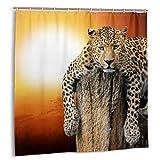 Bestpillow Set de Cortinas de baño para Cortinas de decoración de baño,Leopardo Africano de Safari en Cortinas de baño de Tela con Estampado de árboles con Ganchos 72x72in