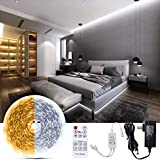Under Cabinet led Light,Bewahly Smart Dimmable LED Strip Lights, Warm and Cool White, 3000K&6500K,Remote Control, Bright LEDs, 32.9ft for Bedroom, Desk,Kitchen,12V