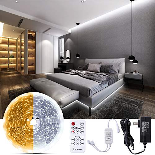 Bewahly Warmweiss LED Strip 10M, LED Streifen Dimmbar 3000K Warmweiß & 6000K Kaltweiß, LED Lichtband mit RF Fernbedienung, Weiß LED Band Leiste für Innenbeleuchtung, Küche, Schrank, wohnzimmer, Decke