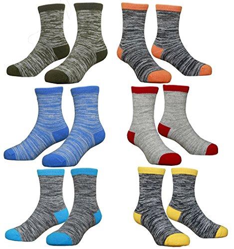 Hzcojulo (Hzcodelo) Little Toddler Kids Boys Girls Fashion Cotton Socks -BA-6 Pairs,XL/Shoe size 3-6 Big Kid/11-13 Years