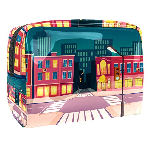 Cartoon Summer Night City Waterproof Toiletry Bag Accessories Organizer (7.3x3x5.1in/18.5x7.5x13cm) Toiletry Bag Brush Pouch Organizers Toiletry Wash Bag