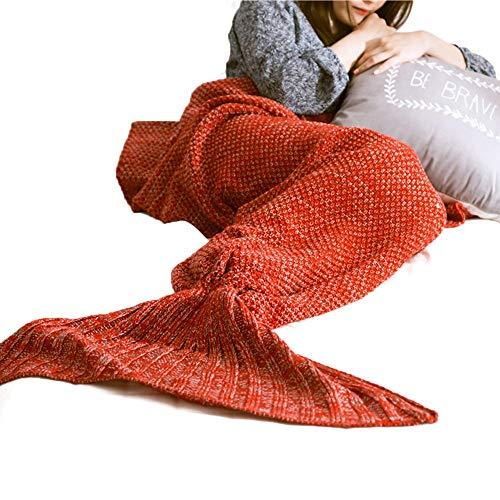 Sygjal Cálida y Suave de la Sirena de la Cola de la Sirena Manta diffenrent Colores Manta for niños y Adultos 90-180cm (Color : Naranja, Size : 0.6kg)