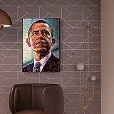 YuanMinglu Moderne Leinwand Wandkunst. Pop-Art-Foto des amerikanischen Präsidenten, der auf Leinwand Malt. Rahmenloses Gemälde40x60cm