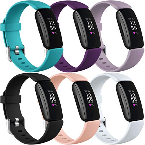 Nofeda 6 Pack Bands Compatible with Fitbit Inspire 2 for Women Men, Adjustable Sport Replacement Wristbands Accessory, Small, Black, Pink, Lavender, Plum