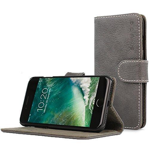 Custodia per Iphone 7, Snugg Apple iPhone 7,a portafoglio, con portacarte, in pelle, serie Legacy, Similpelle, Shark Skin Grey, iPhone 7 Flip Case