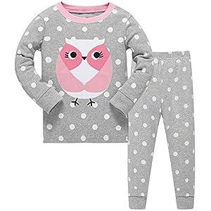 Conjunto de pijama para niñas de búho bonito, de manga larga, 100% algodón, ropa de dormir, camisetas y pantalones, de 2…