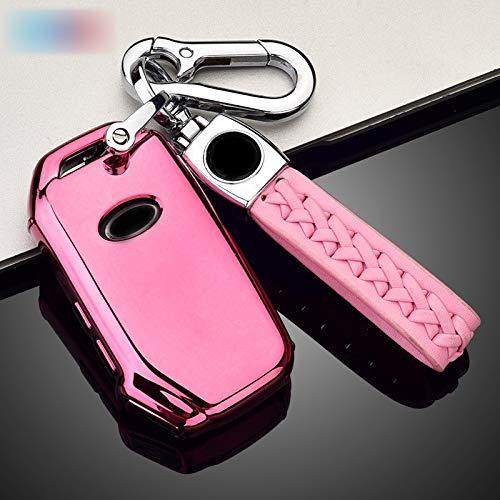 Xuping shop Carcasa para llave de coche de TPU suave para Kia Sportage Ceed Sorento Cearto Forte Auto Smart Key Accessories llavero (color: rosa con cadena B)