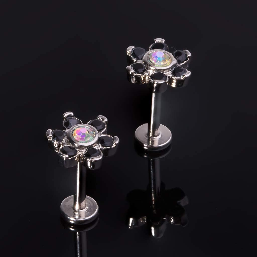 LIZD 16G Surgical Steel Labret Lip Studs Tragus Helix Cartilage Earrings Daith Barbell Body Piercing Jewelry Crystal Flower Style