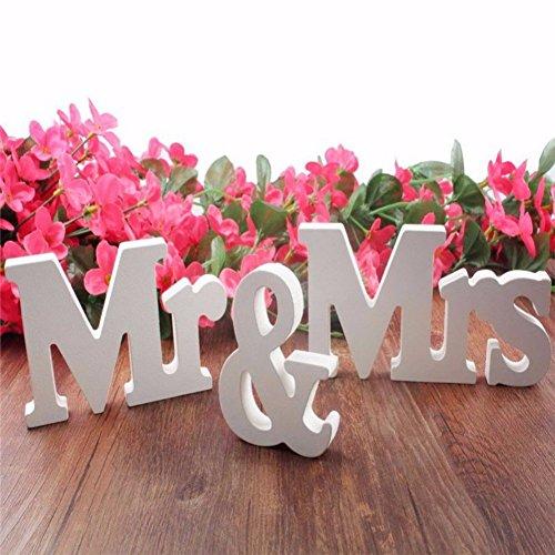 Moresave Mr und Mrs Holzbuchstaben Hochzeit Dekoration Geschenk 1 Set Weiß