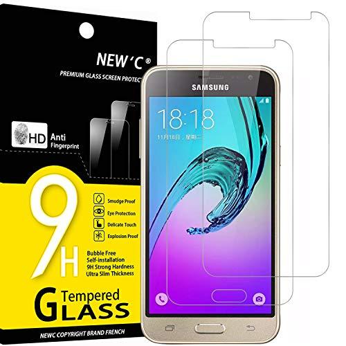 NEW'C 2 Unidades, Protector de Pantalla para Samsung Galaxy J3, Antiarañazos, Antihuellas, Sin Burbujas, Dureza 9H, 0.33 mm Ultra Transparente, Vidrio Templado Ultra Resistente