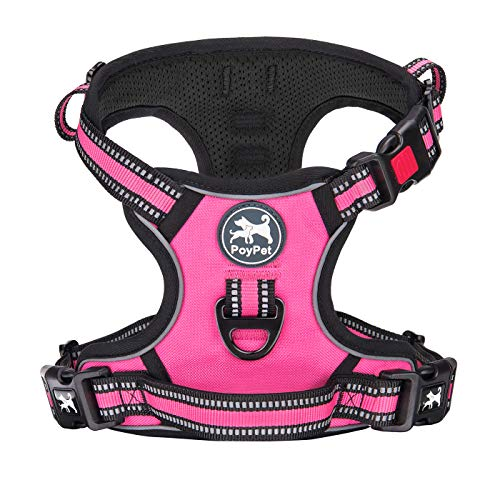 PoyPet No Pull Dog Harness, [Release on Neck] Reflective Adjustable No Choke Pet Vest with Front & Back 2 Leash Attachments, Soft Control Training Handle for Small Medium Large Dogs(Pink,M)