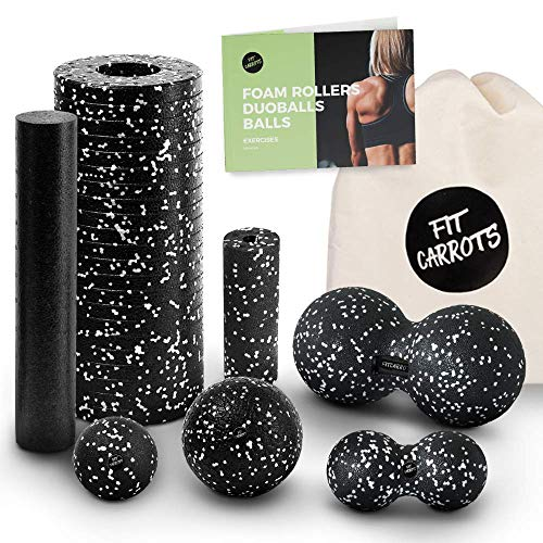 Starter-Set 6-Tlg - Faszienrolle klein und groß, Duoball 8 und 12 cm, Faszienball 8 und 12 cm - Faszienset zur effektiven Faszien & Triggerpunkt Massage inkl. Startguide