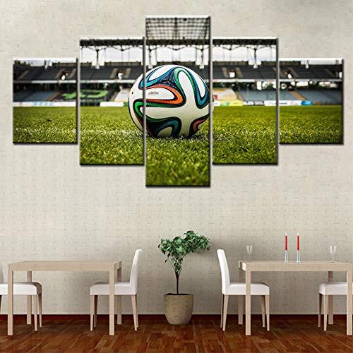 KWzEQ HD-Druck 5 Stück modulare Bilder Fußball und Stadion Moderne Leinwand Wandkunst Poster,Rahmenlose Malerei,20x35cmx2, 20x45cmx2, 20x55cmx1
