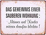 KMC Austria Design Cartel de chapa vintage Shabby Style como cuadro de pared, 35 x 26 cm, con texto impreso – tema de vivienda & Putzen – El secreto de una vivienda limpia