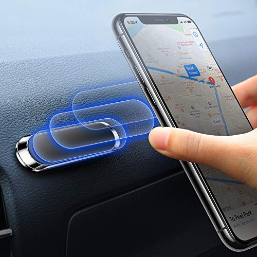 Magnetic Car Phone Holder, Newest Powerful Magnet Mount, Magnetic Car Mount, Portable Mini Metal Car Phone Holder, Car Holder for iPhone, Samsung, Huawei, Sony, Moto GPS device, etc. (White)
