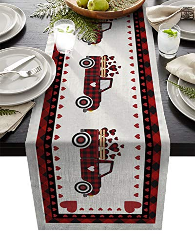 Linen Burlap Table Runner Valentine's Day 13x90 Inch Dresser Scarf Washable Table Runners for Coffee Table Party Dinner Holidays Table Decor Little Red Truck Decor Romantic Love Heart