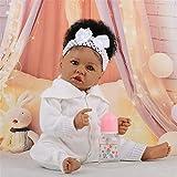Muñecas Reborn para bebés, niña de Piel Negra, muñeca recién Nacida, Cuerpo Completo de Silicona Suave, muñecas nutritivas, Ligeras, Lavables, para niños pequeños, Juguetes para niños
