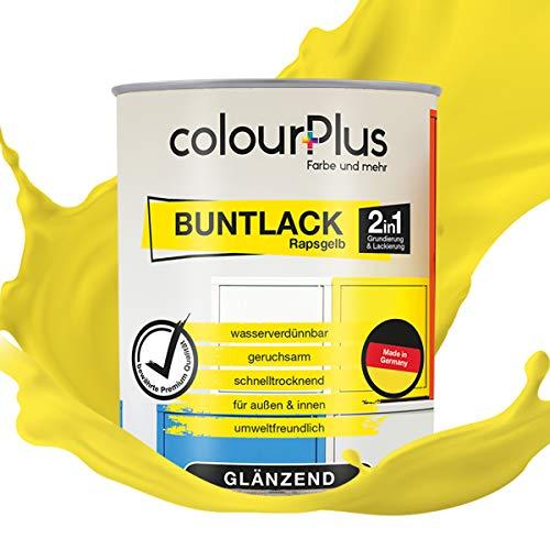 colourPlus® 2in1 Buntlack (750ml, RAL 1021 Rapsgelb) glänzender Acryllack - Lack für Kinderspielzeug - Farbe für Holz - Holzfarbe Innen - Made in Germany