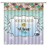 WZFashion Mermaid Scales Shower Curtain Magical Fishscales Glare Ocean Sea Purple Aqua Teal Princess Decor Fabric Bathroom Curtain Set Polyester with Hooks