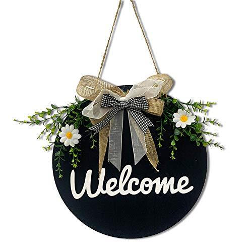 """Dricar Targhetta rotonda per porta, 30 x 30 cm, in legno, per porta di casa, con scritta """"Welcome/Hello"""", da appendere, vintage, da parete, decorazione da parete per il giardino (nastro blu scuro)"""