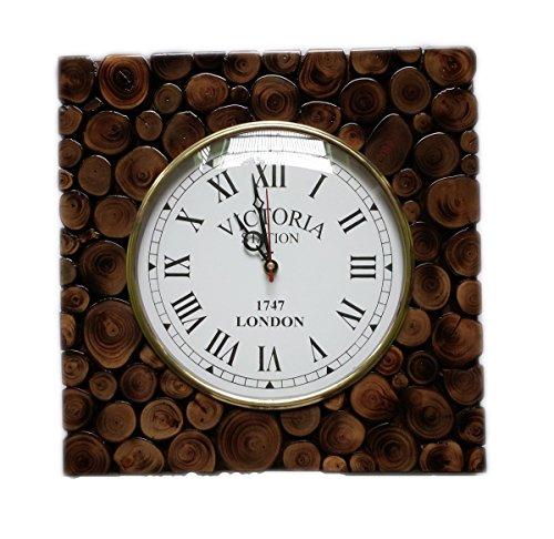 Hind Bricoler Fait Main tranches de bûches en Bois décoratifs Romain Horloge Murale | Premium Accents de décoration Murale (Teck) (30,5 x 30,5 cm, 20,3 cm Cadran)